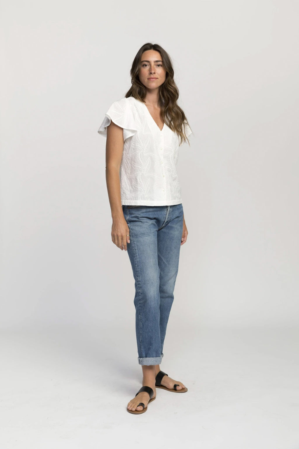 Trovata Angela Flutter Sleeve Blouse in White Embroidery