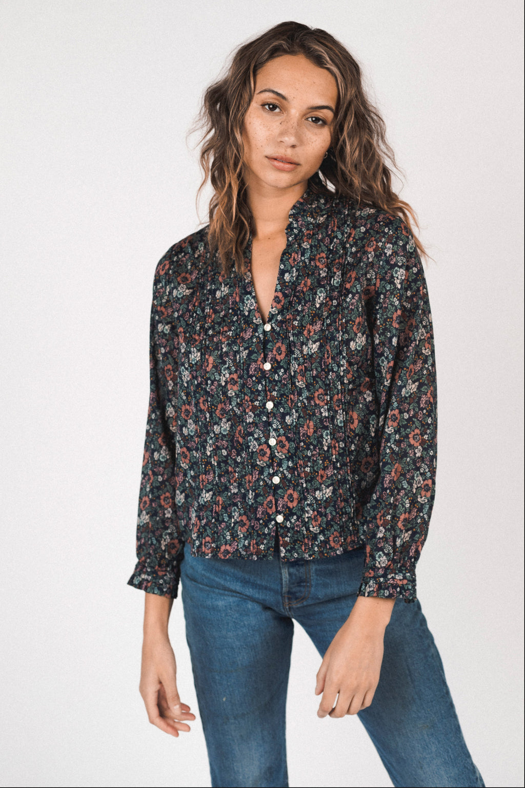 Trovata Finley Pintuck Blouse in Woodland Floral