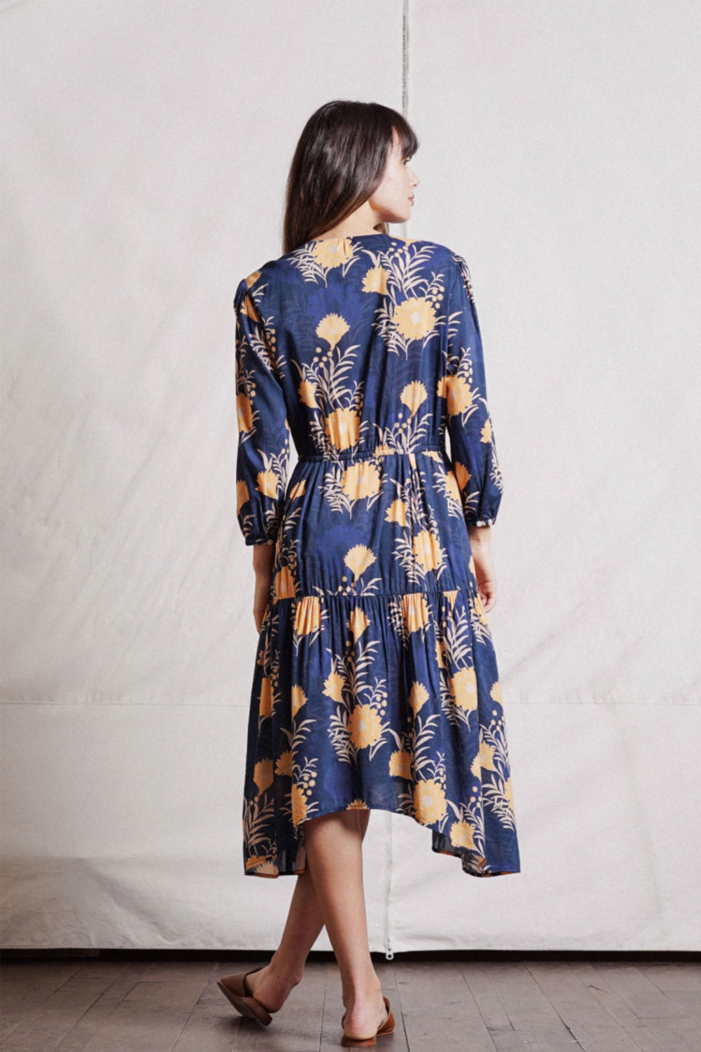 Trovata Ainsley Boho Dress in Navy/Gold Floral