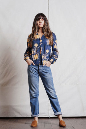 Trovata Hallie Sleeve Detail Blouse in Navy/Gold Floral