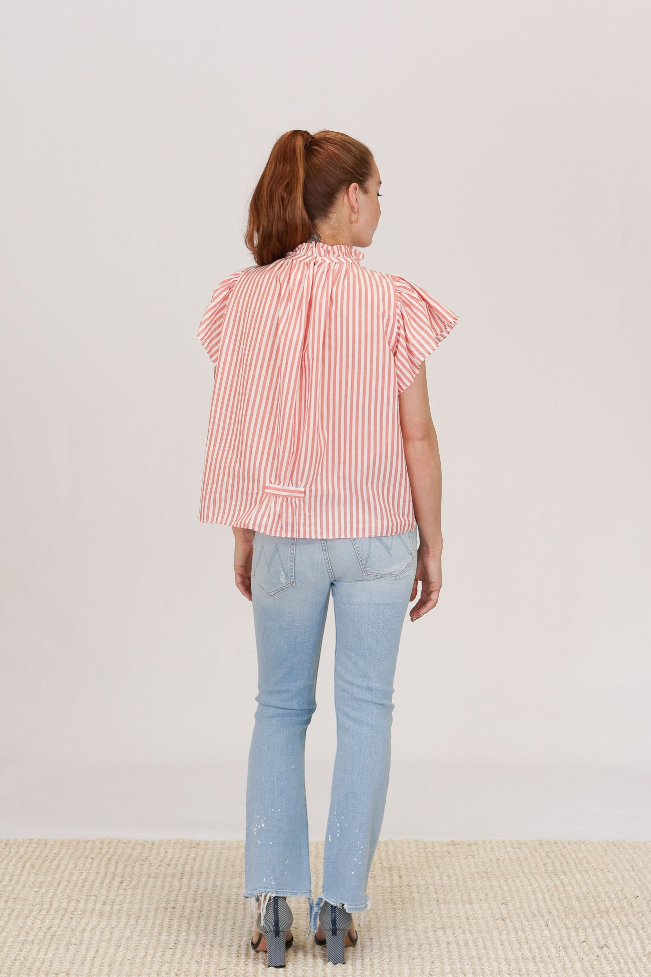 Trovata Carla High Neck Blouse in Red and White Stripe