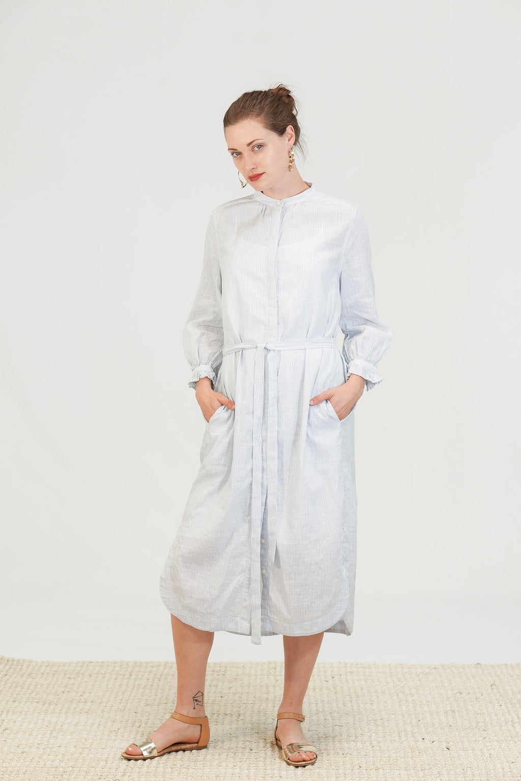 Trovata Crista Shirt Dress in Blue and White Stripes