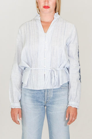 Trovata Lana Pintuck Embroidered Blouse in Blue Stripes