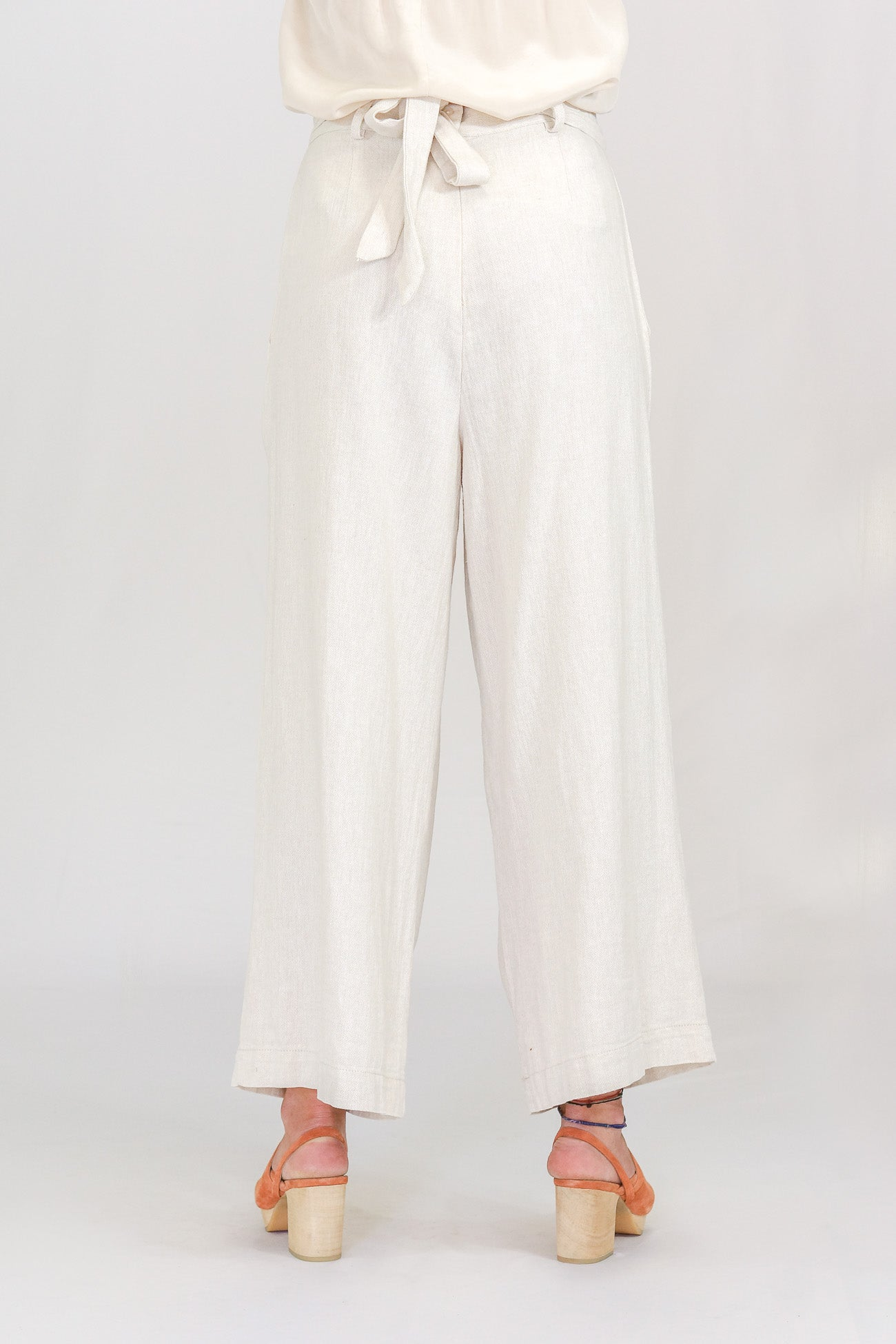 Trovata Linen Tina Wide Leg Natural Pants