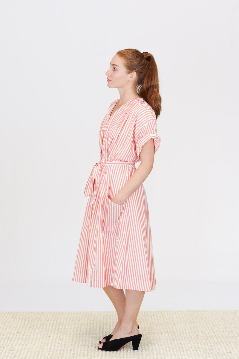 Trovata Sophie V-Neck Shirt Dress in Red and White Stripe