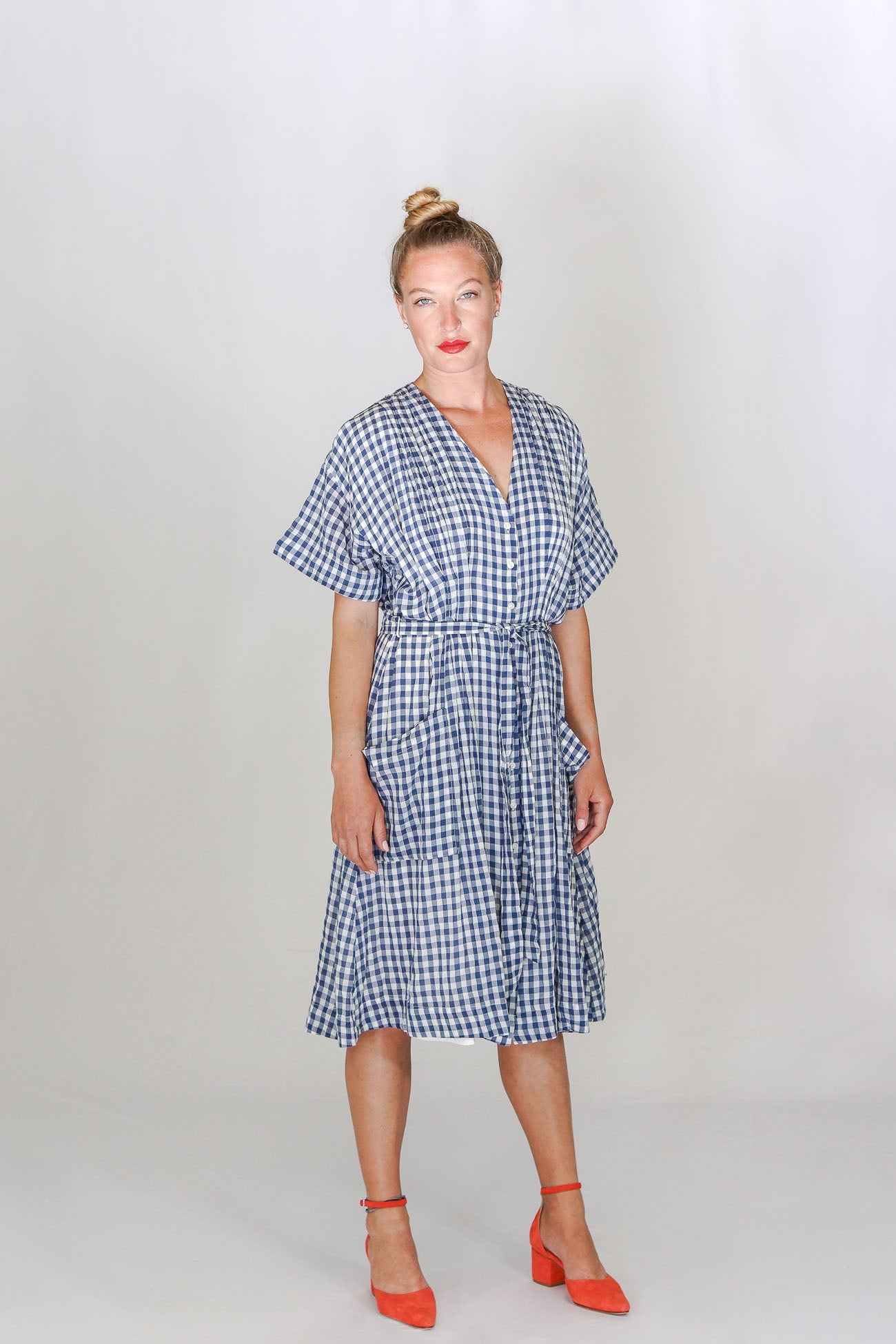 Trovata V-Neck Sophie Shirt Dress in Blue Check