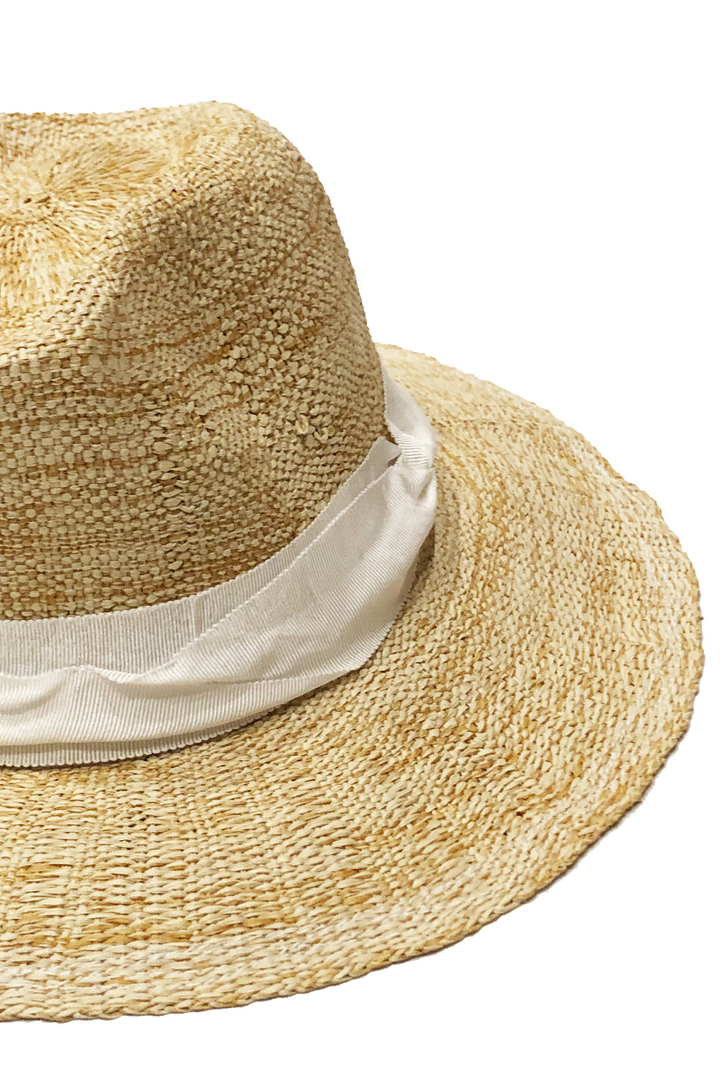 Lola Ehrlich Rise and Shine Straw Hat in Oatmeal with White Ribbon