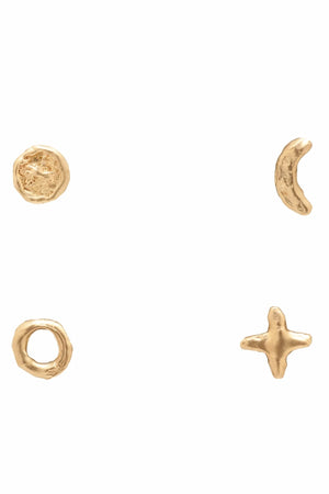 Valley Rose 14K Gold New Moon Circle Phases of the Moon Earring