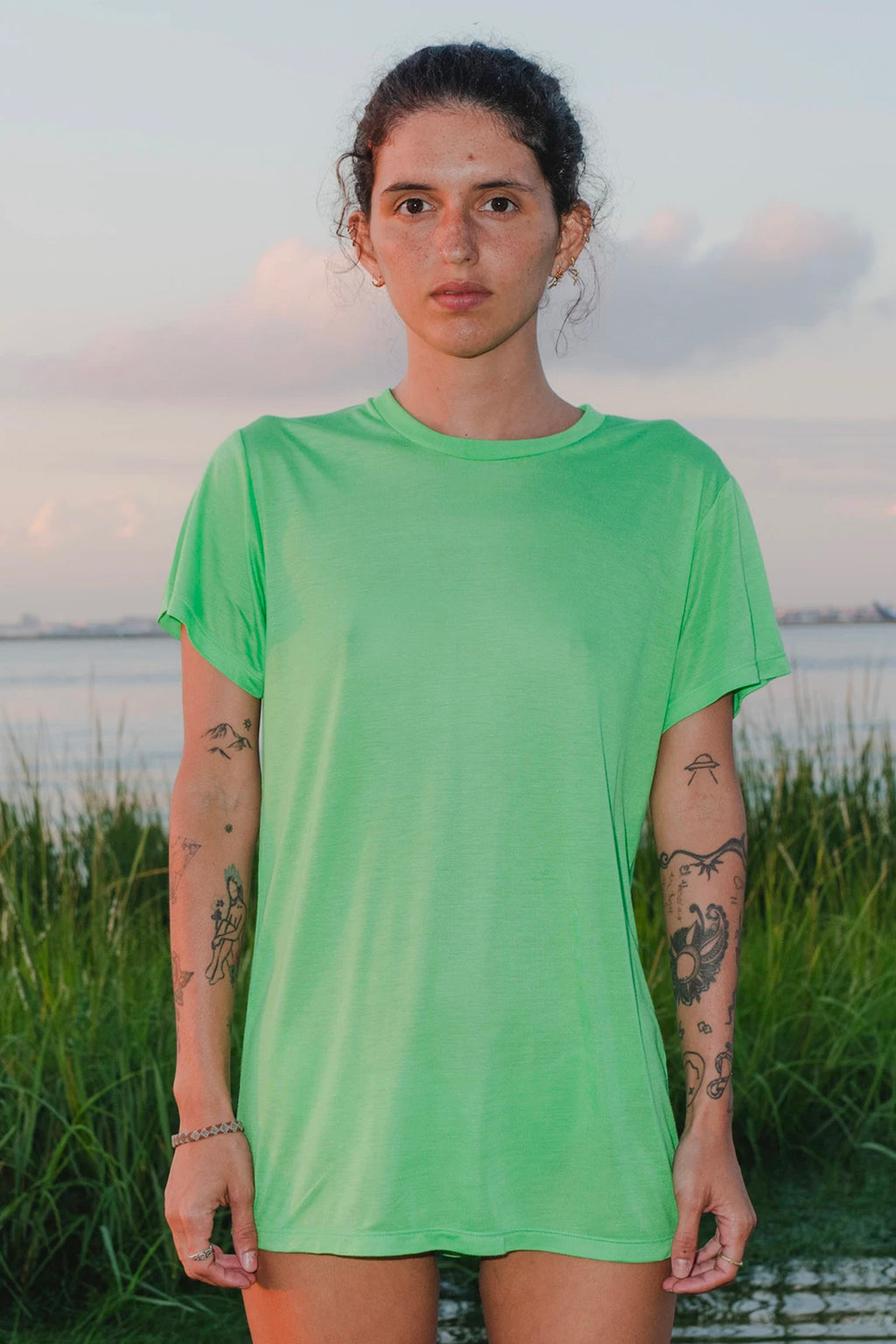 Base Range Bamboo Tee Shirt in Ara Green