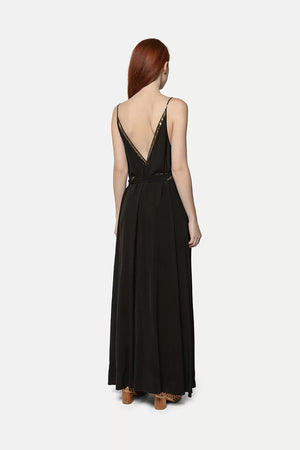 Forte Forte Spaghetti Strap Maxi Lurex Poplin Dress in Black