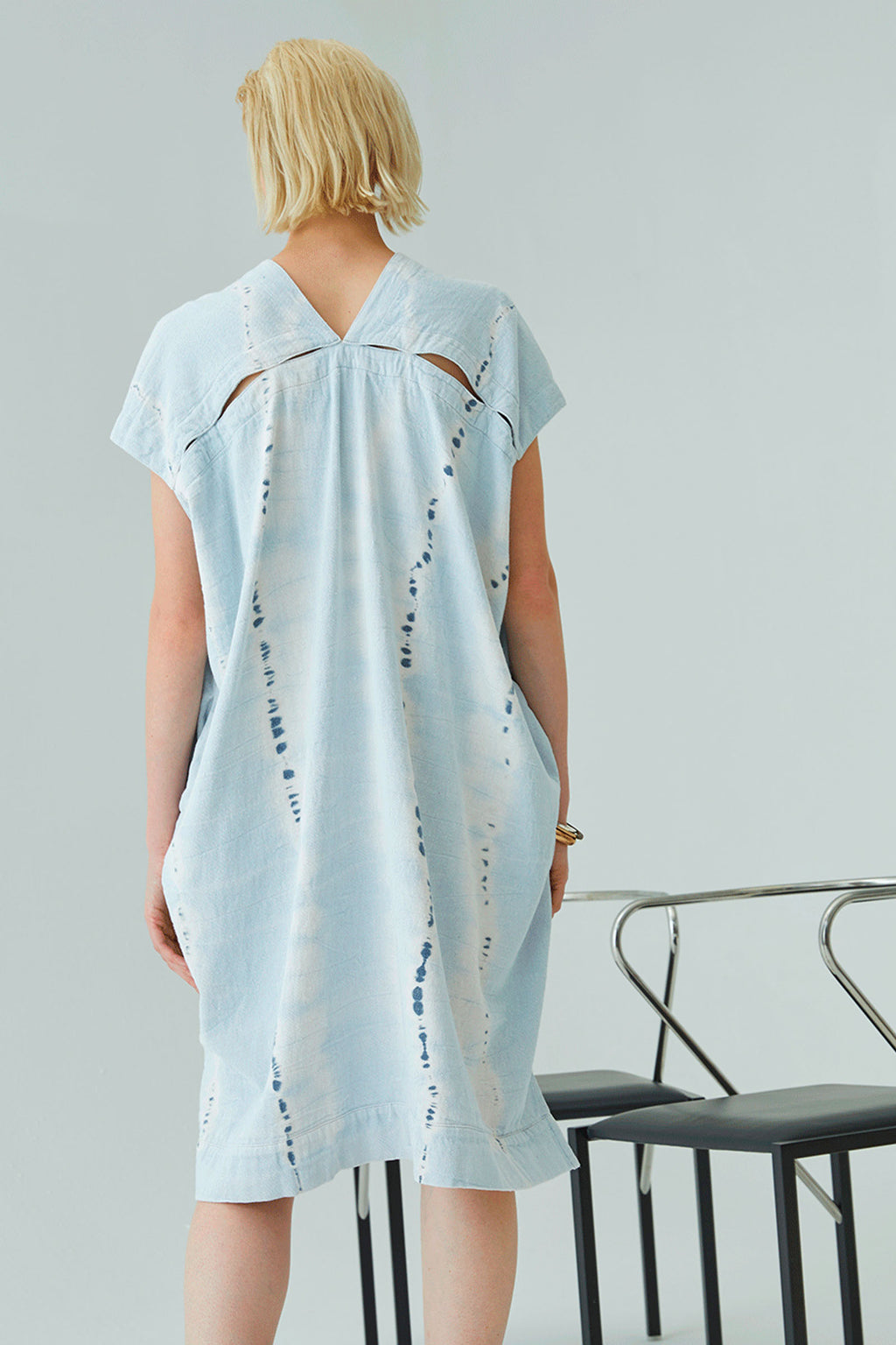 Atelier Delphine Cresent Dress in Ice Wash Tie Dye