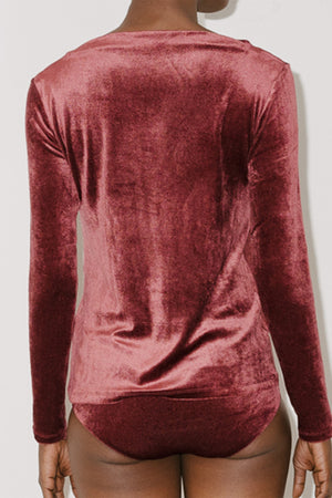 Baserange Meji Velour Top in Baji Burgundy