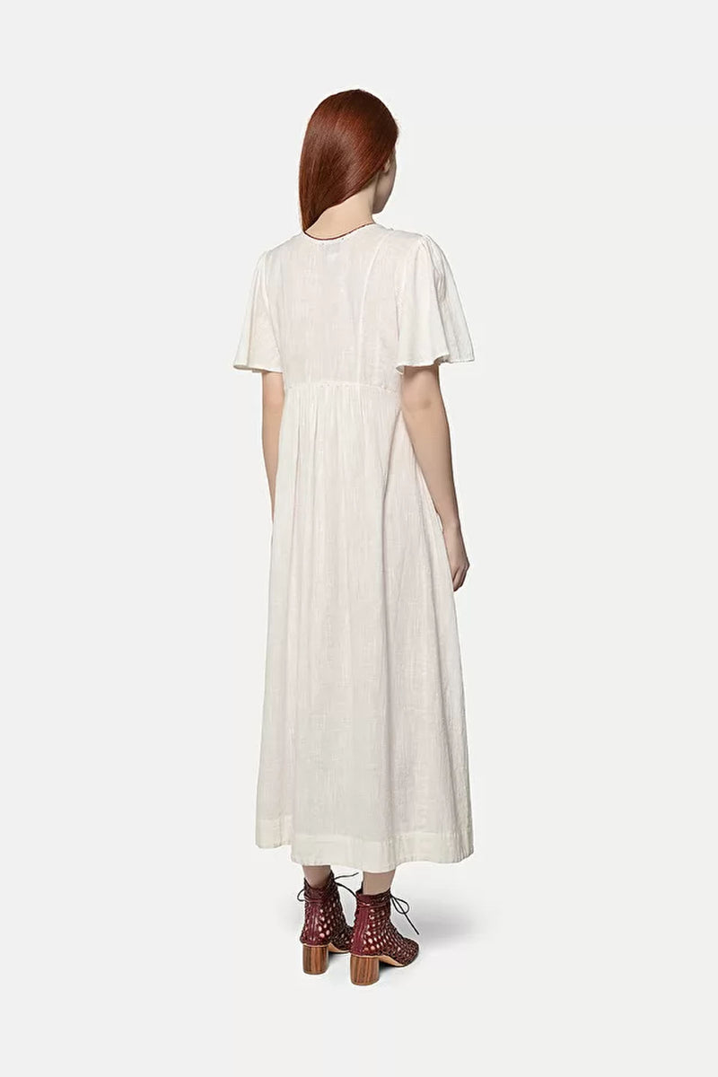 Forte Forte Broderie De Fez Embroidered Dress in Blanco