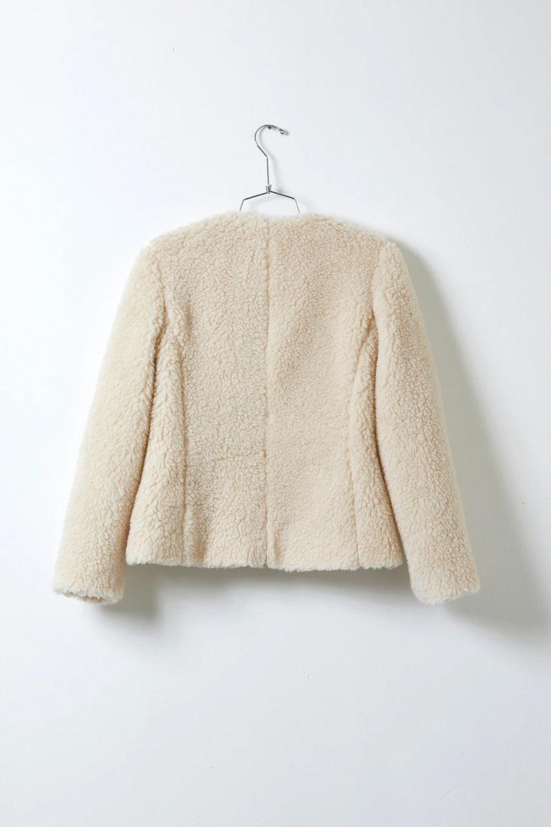 Atelier Delphine Gardetto Cream Jacket in Faux Fur