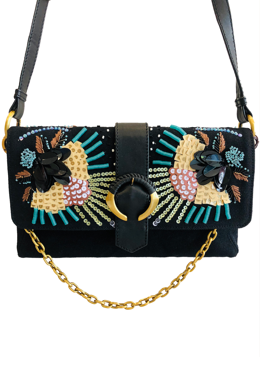 Maliparmi Handbeaded Abstract Flower Crossbody Bag in Black