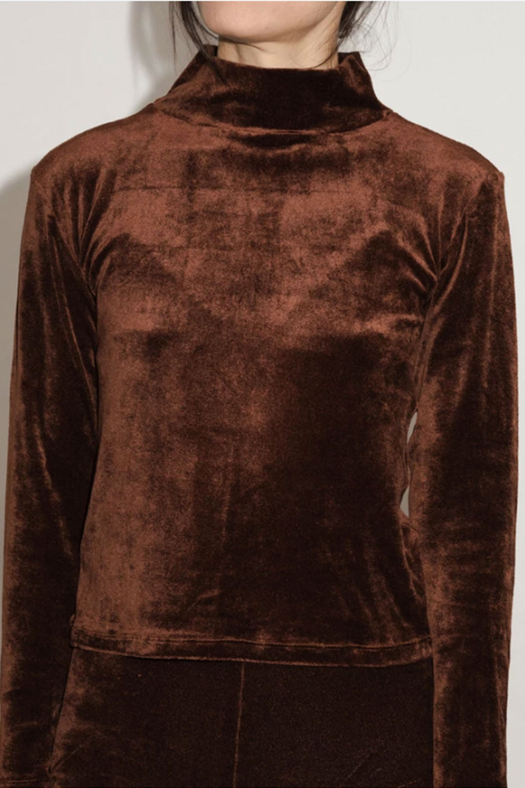 Base Range Dou Turtle Neck-Shiny Velour Sweater in Turnip Brown