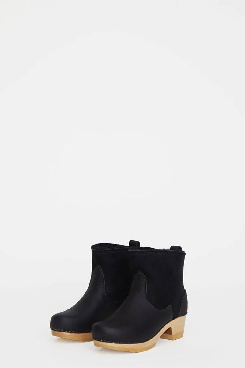 "No.6 5"" Pull On Shearling Clog Boot on Mid Heel in Black Suede"