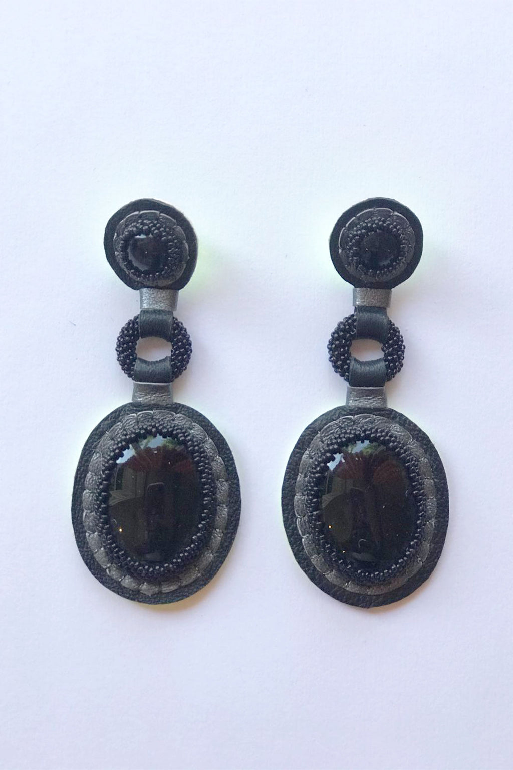 Robin Mollicone Handbeaded Black Onyx Double Stone Earrings