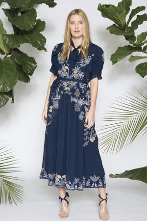 Caballero Marina Dress Silk Thread Embroidery in Midnight Navy