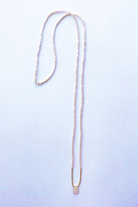 ILD Strawberry Long Nude Necklace with 14k Gold Beads
