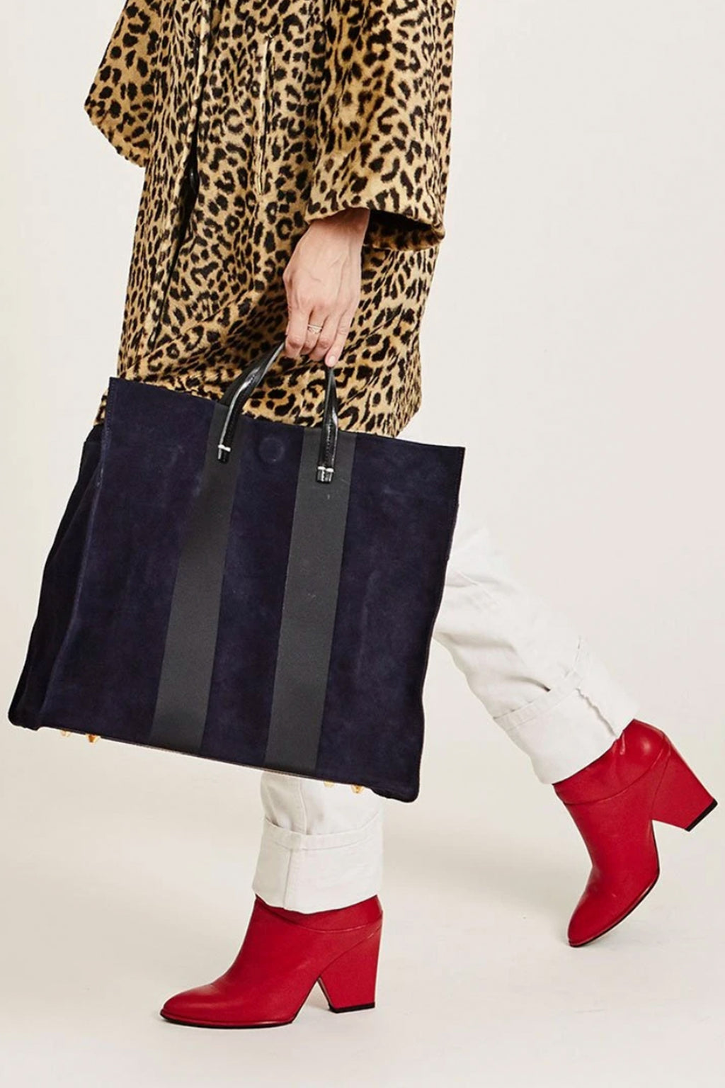 Clare Vivier Suede Tote in Navy with Black Racing Stripe