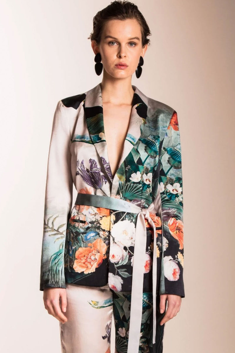 Caballero Silk Scarlette Wrap Jacket in Japanese Pond