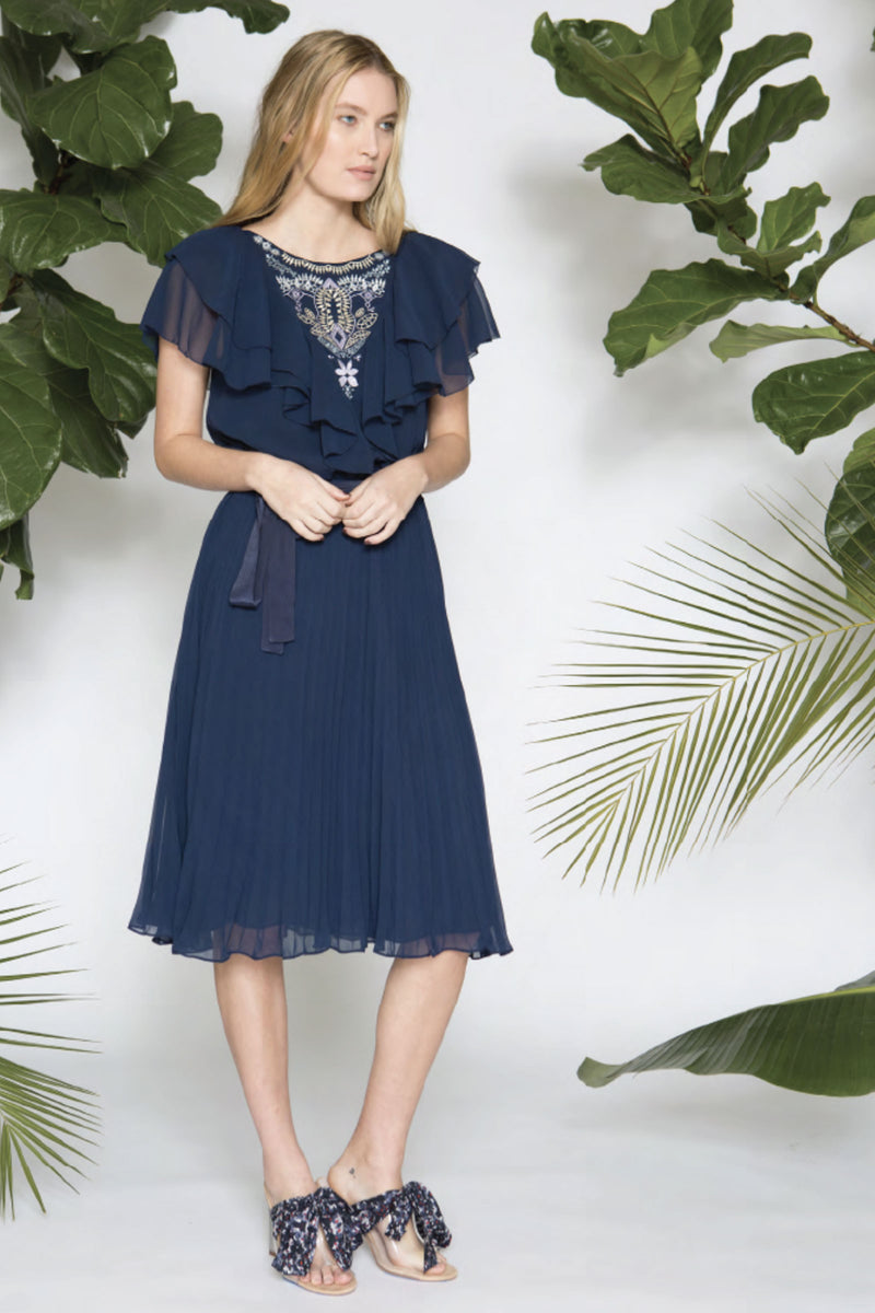 Caballero Liz Dress Silk Thread Embroidery in Midnight Navy