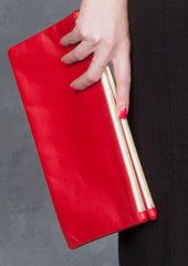 Clare Vivier Double Removable Poppy Red Clutch in Amalfi Lamb Leather