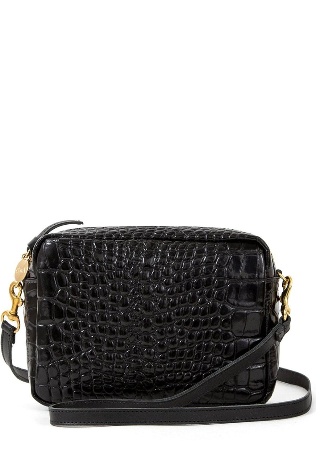 Clare Vivier Midi Sac Crossbody in Croco-Black