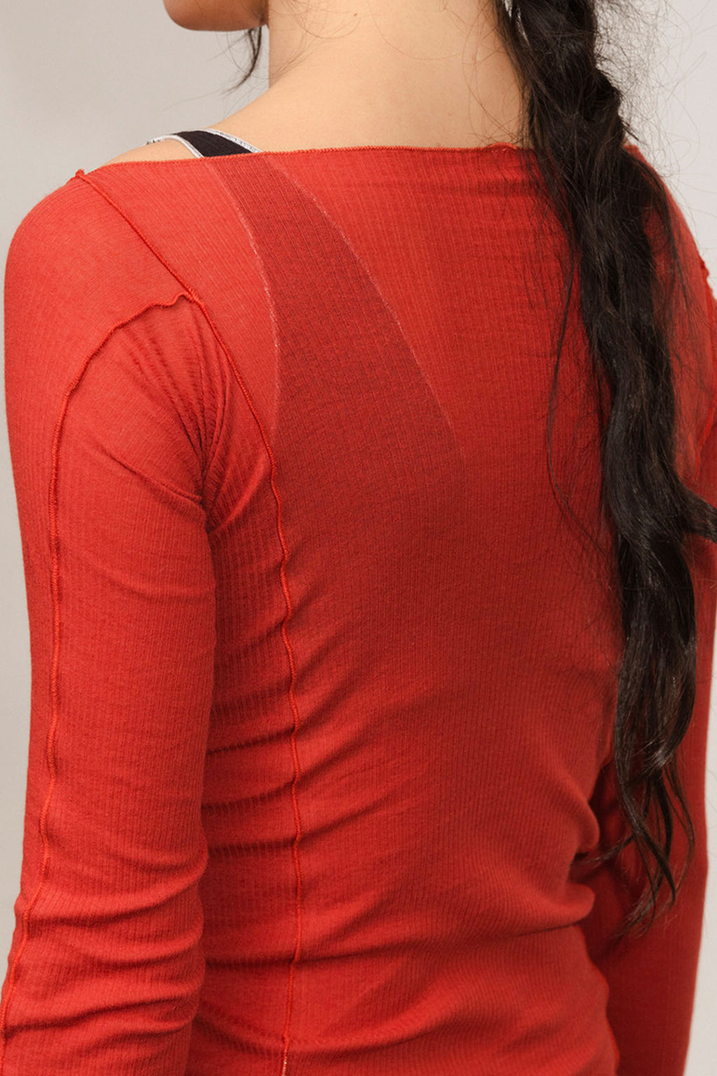 Base Range Omato Long Sleeve Cotton Rib in Cherry Red