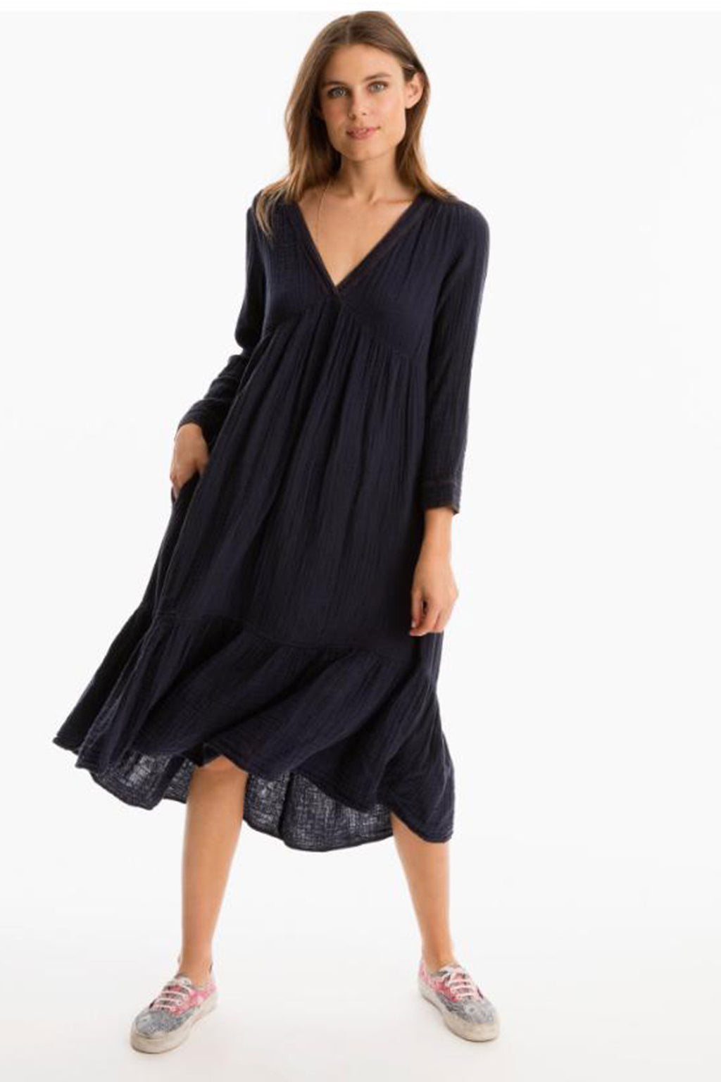 Xirena Cotton Dayley Dress in Navy Night
