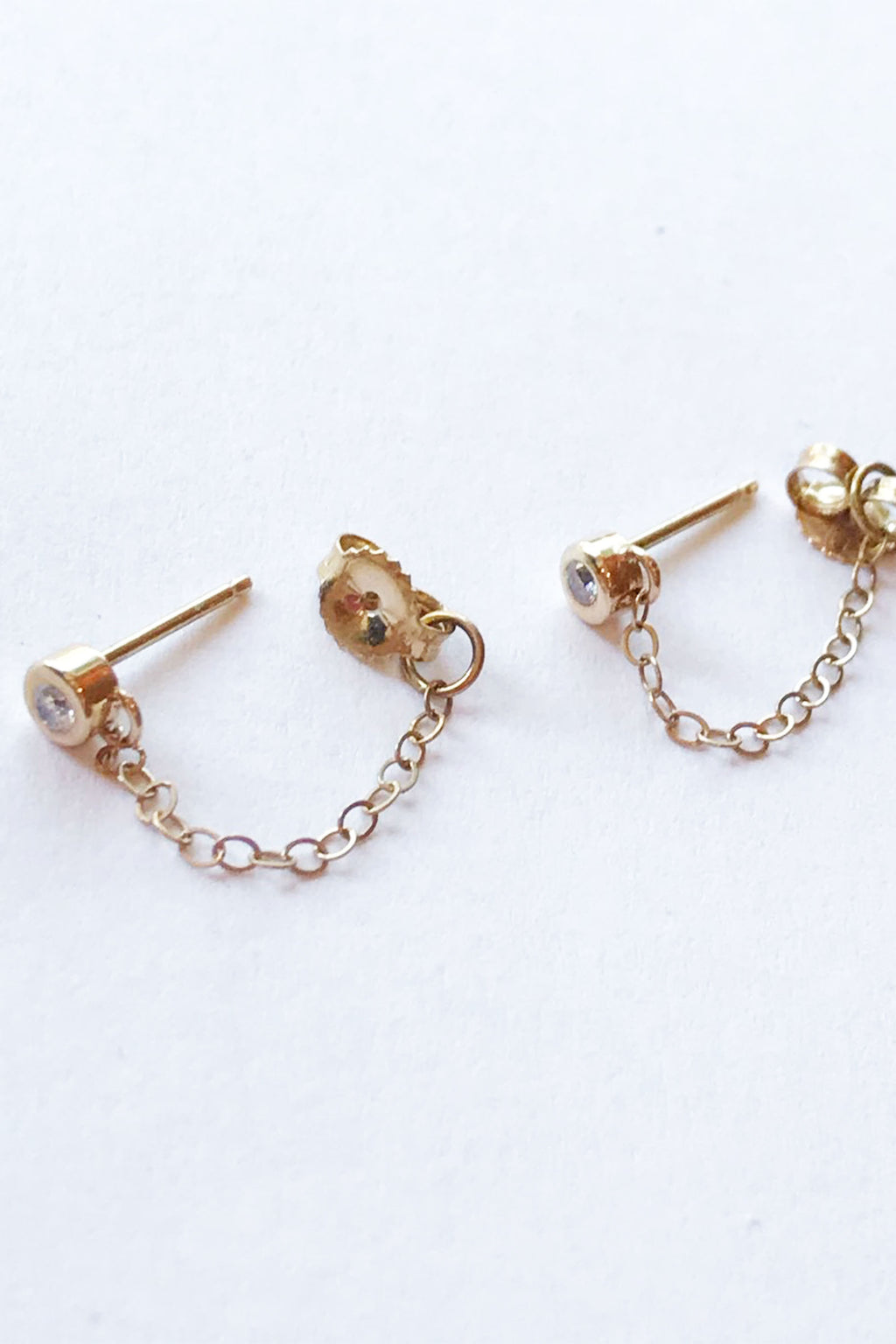 Melissa Joy Manning 14k Yellow Gold White Diamond Post With Chain Earrings