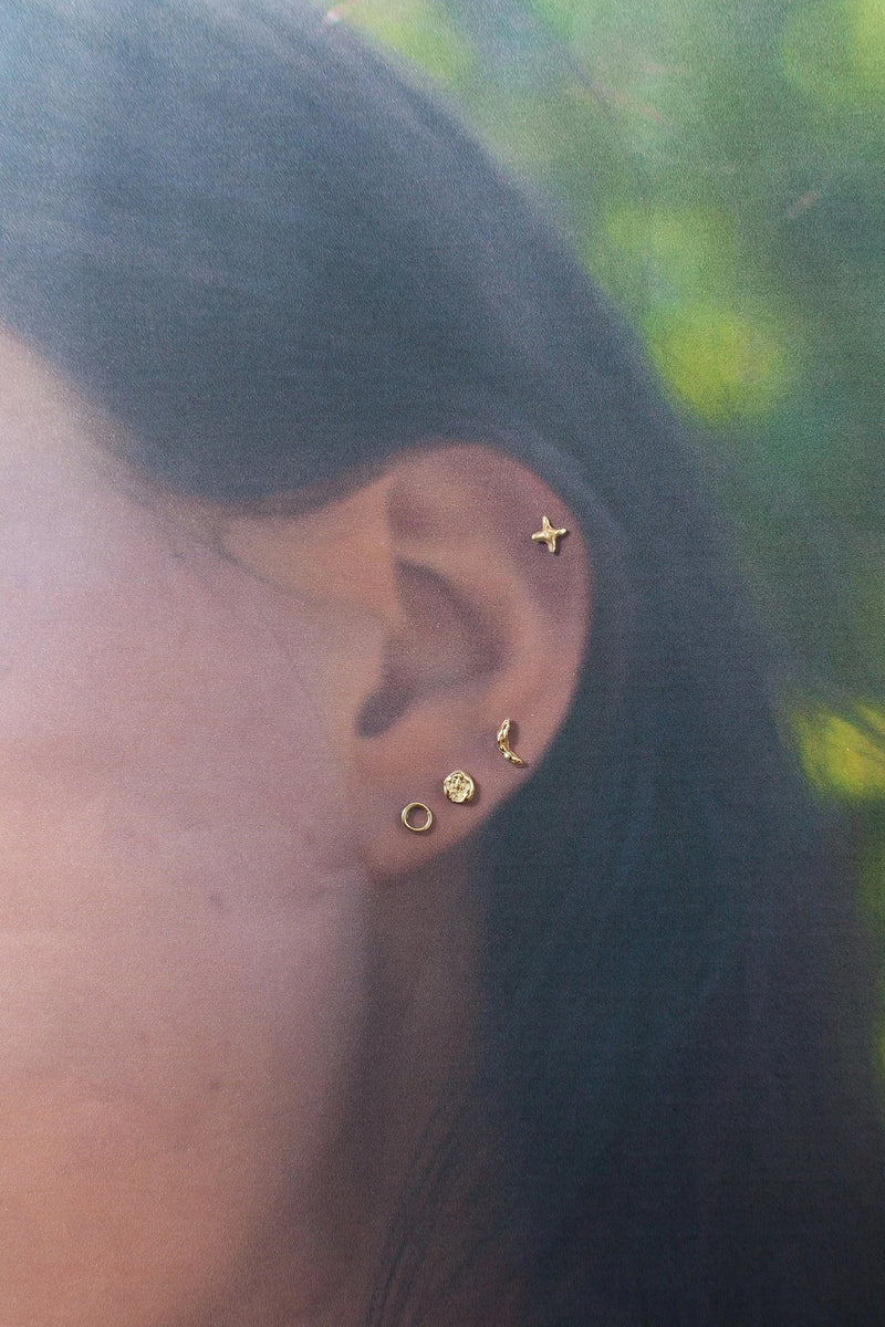 Valley Rose 14K Gold Cresent Moon Phases of the Moon Earring