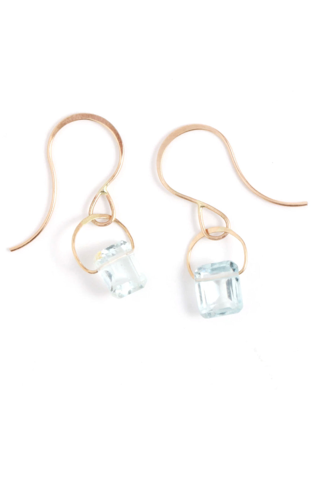 Melissa Joy Manning 14k Gold Emerald Cut Aquamarine Drop Earrings
