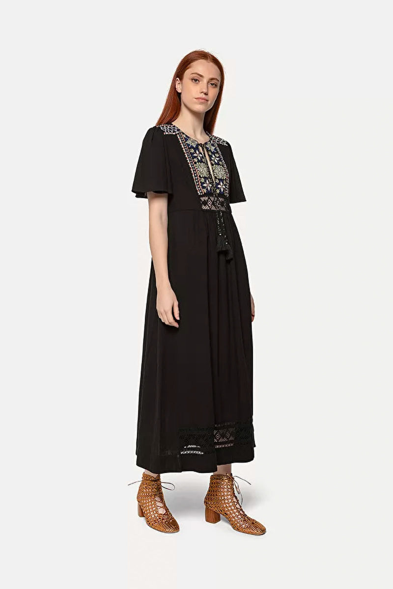 Forte Forte Broderie De Fez Embroidered Dress in Nero