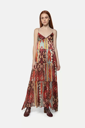 Forte Forte Satin and Voile Maxi Slip Dress in Sunstone