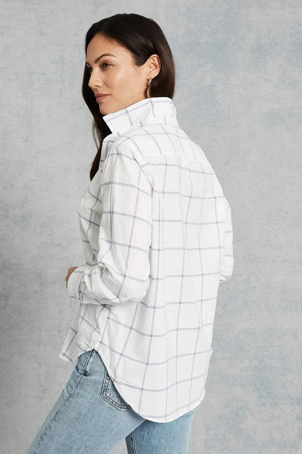 "Frank and Eileen """"Eileen"" Italian Cotton White & Blue Windowpane Button Down"