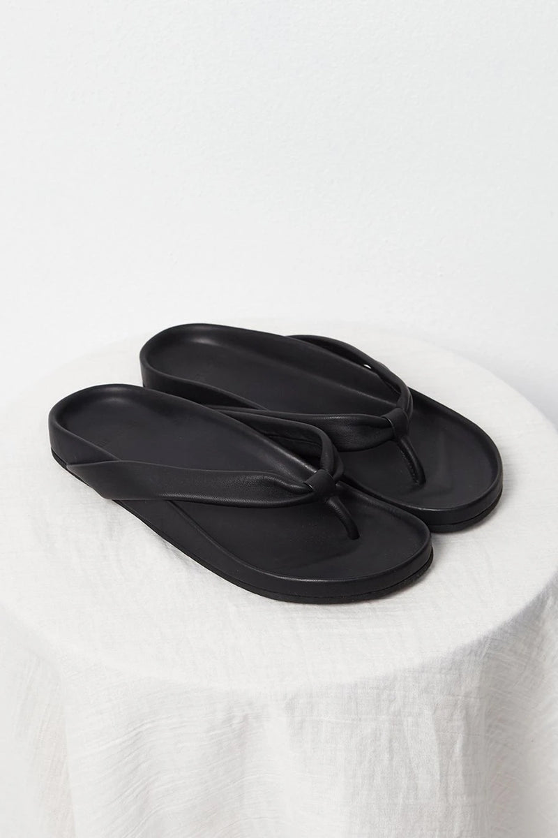 Atelier Delphine Black Leather Surfer Sandals