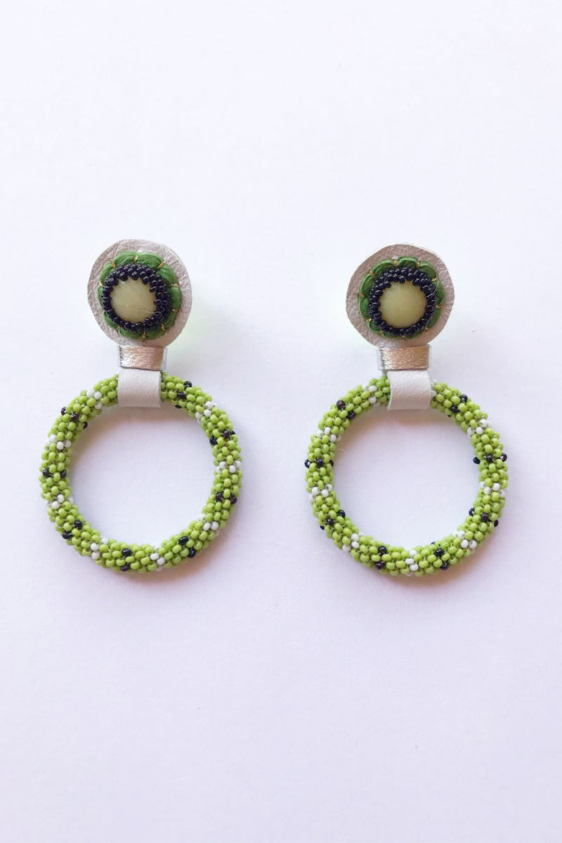 Robin Mollicone Olive Jade Hand Beaded Hoop Earrings