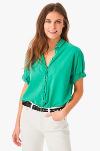 Xirena Channing Poplin Top in Palm Green