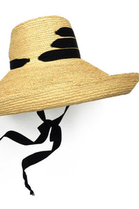 Lola Ehrlich Espartina Bis Raffia Hat with Black Ribbon
