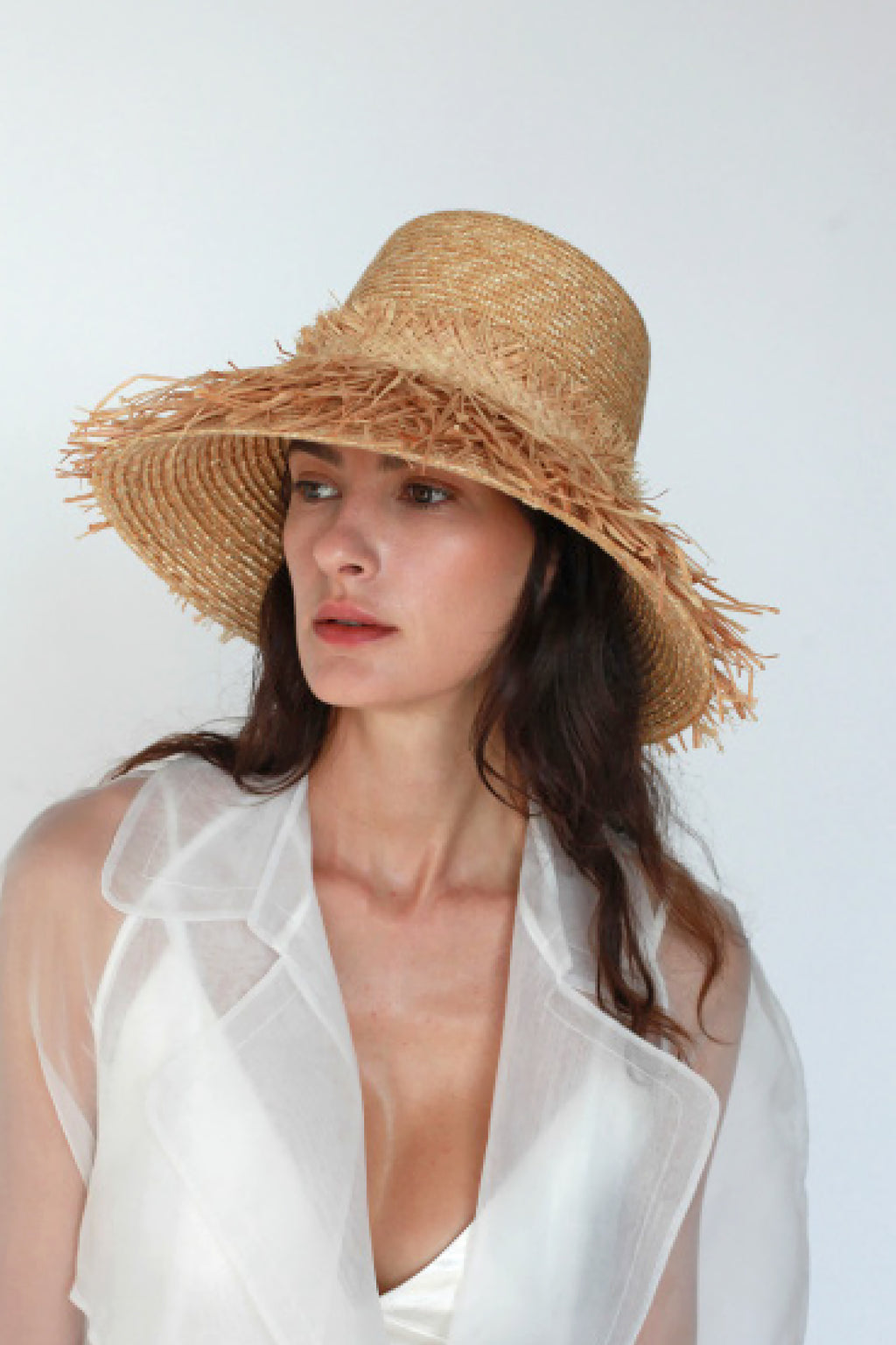 Lola Ehrlich Espartina Wheat Straw Hula Raffia Hat in Natural