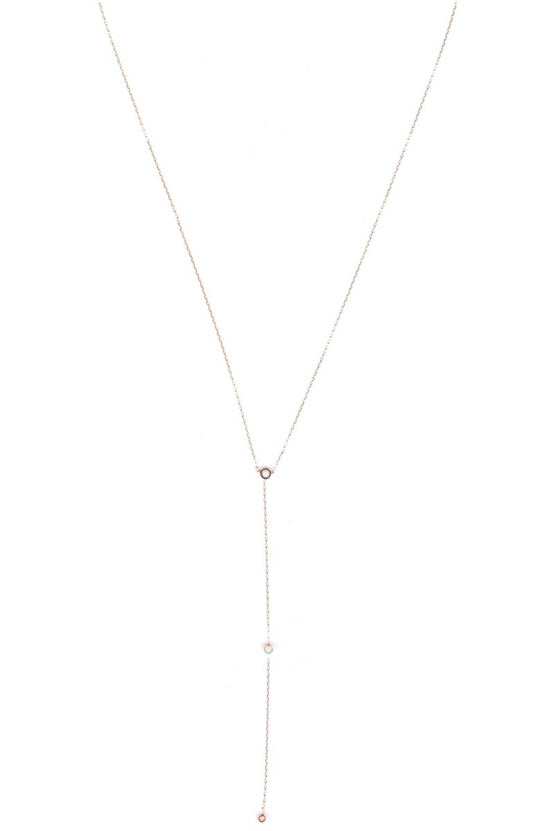 ILD Milk & Honey 14K Gold and Three Drop Opal Necklace