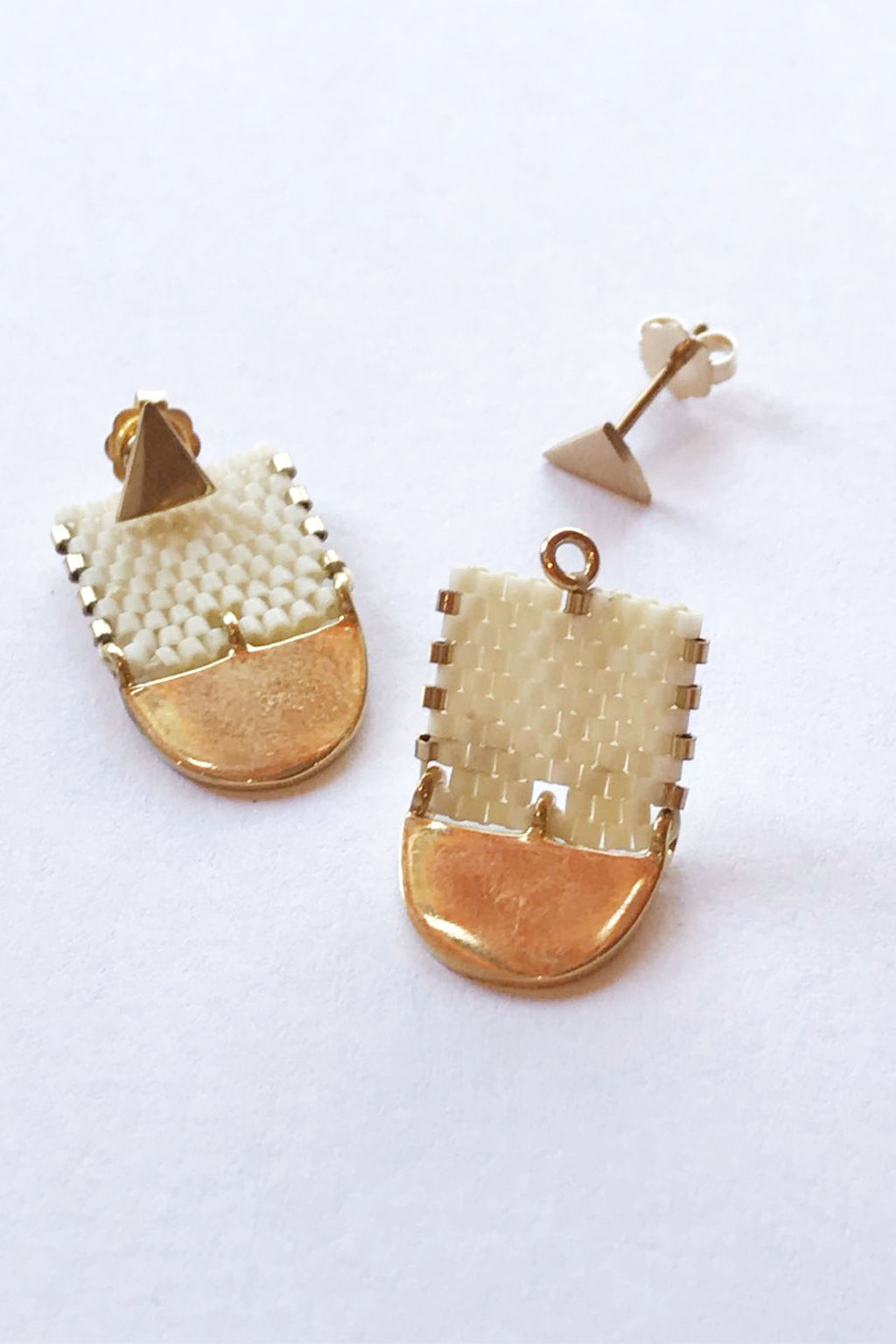 ILD Milk and Honey Moon Short Earrings in Bone with 10K Gold Stud