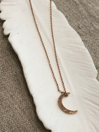 Pade Vavra 14K Rose Gold Diamond Mini Moon Necklace