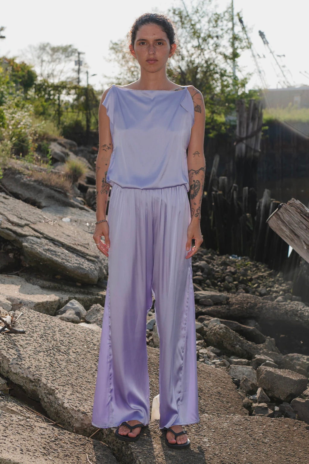 Base Range Silk Mir Pants in Laguna Purple