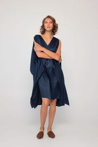 Loup Charmant Juno Kaftan Silk Dress in Midnight