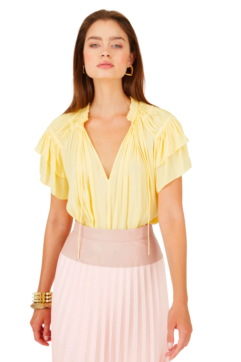 Caballero Kelsie Top in Yellow Jacquard Dot