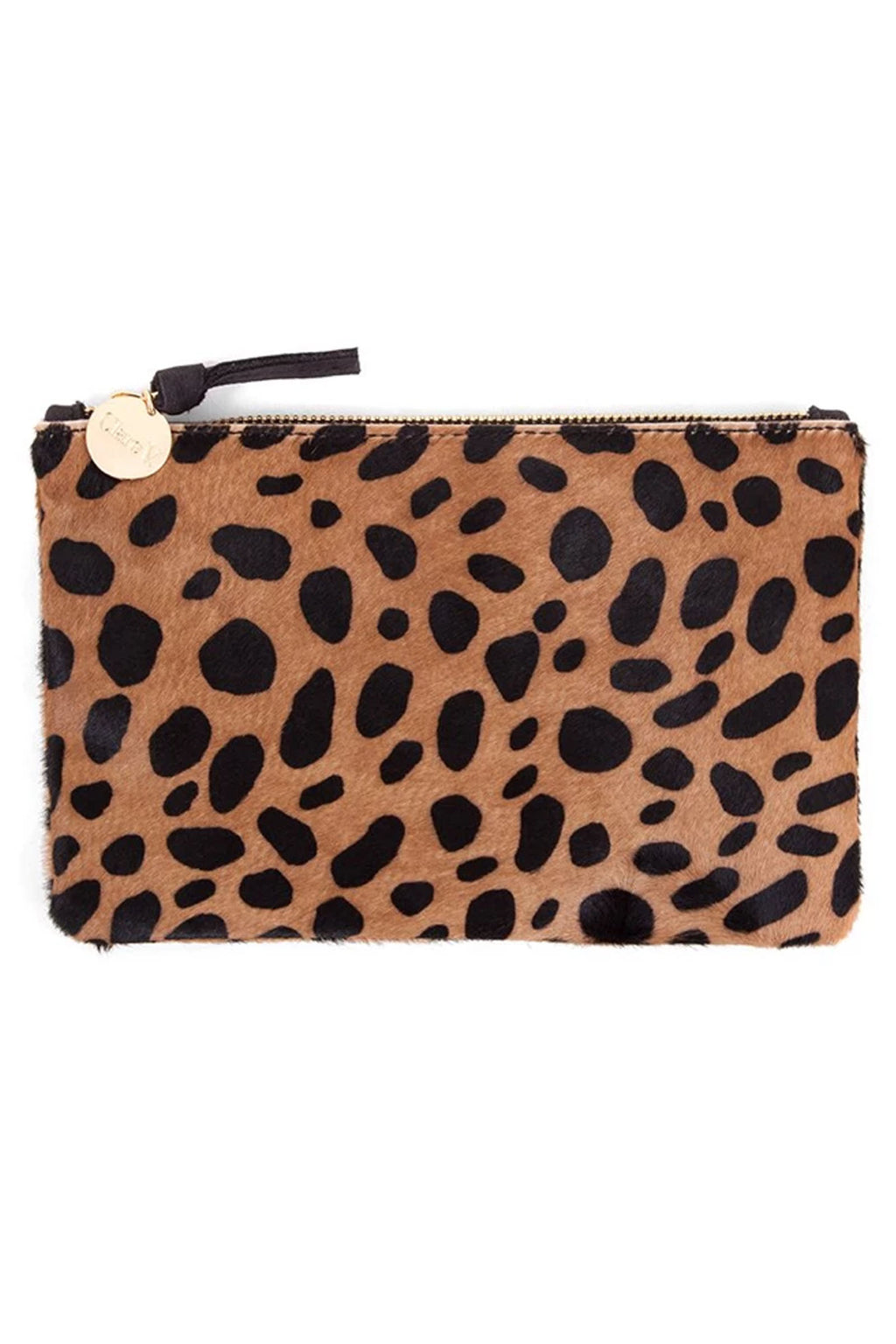 Clare Vivier Hair-On Wallet in Tan Leopard