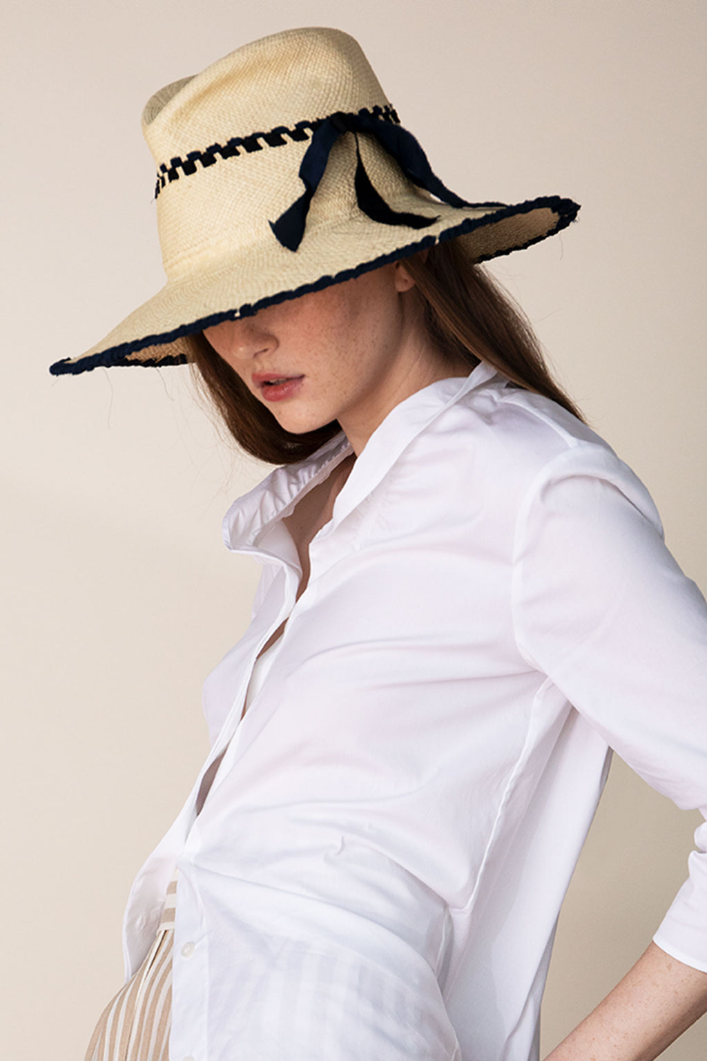 Lola Ehlrich Metro Tile Straw Hat In Dark